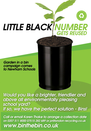 Poster showing a small black bin with a small plant growing from it
